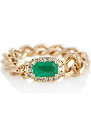 Shay Baby Link 18kt ring with emerald and diamonds