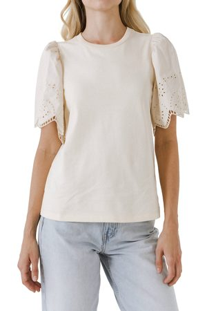 ENGLISH FACTORY Women's Eyelet Scallop Cotton Shirt