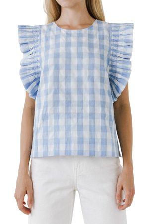 ENGLISH FACTORY Women's Gingham Ruffle Sleeve Top