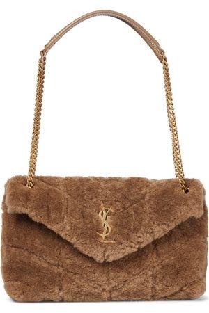 Saint Laurent Loulou Puffer Small shearling shoulder bag