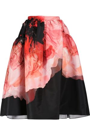 Alexander McQueen Printed polyfaille midi skirt