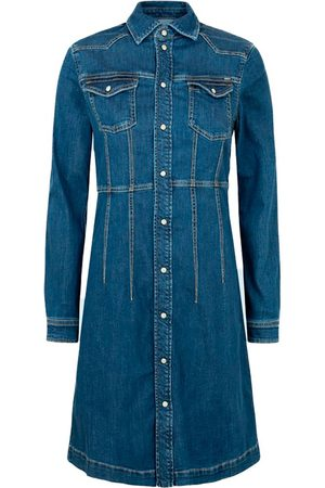 Pepe Jeans Lacey Long Sleeve Denim Dress L Denim