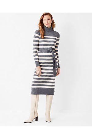 ANN TAYLOR Stripe Belted Turtleneck Sweater Dress
