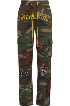 SUNDAY OFF CLUB Men Cargo Pants - Embroidered Cotton Blend Cargo Pants