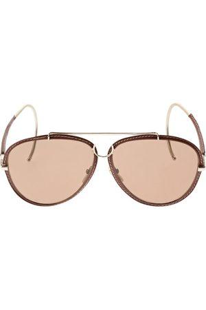 Chloé Edith Aviator Sunglasses W/ Leather