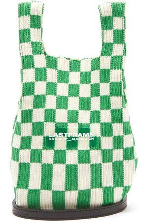 Lastframe Small Ichimatsu-check Rib-knit Tote Bag - Womens
