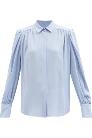 Another Tomorrow Point Collar Gathered Crepe Blouse - Womens - Light
