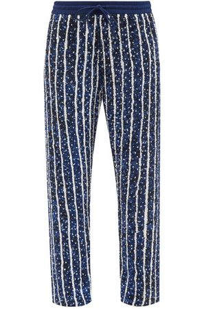 Ashish Women Pants - Striped Sequinned Relaxed-leg Trousers - Womens - Navy Stripe