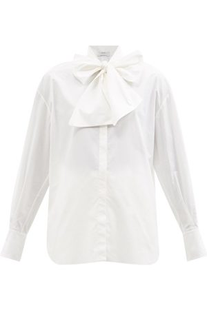 Another Tomorrow Pussy-bow Neckline Cotton-poplin Blouse - Womens