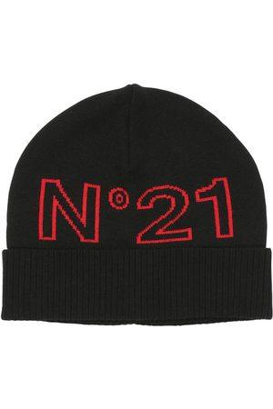 Nº21 Logo Intarsia Wool Blend Knit Beanie Hat
