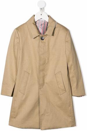 Thom Browne Kids Bal-collar cotton overcoat - Neutrals