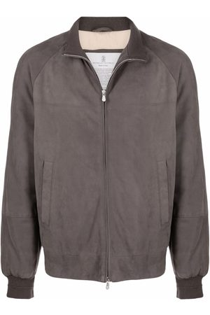 Brunello Cucinelli Men Leather Jackets - Suede feather-down bomber jacket - Grey