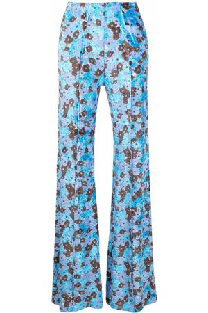 Acne Studios Women Wide Leg Pants - Floral-jacquard flared-leg textured trousers