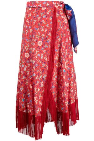 FORTE FORTE Fringe floral-print skirt