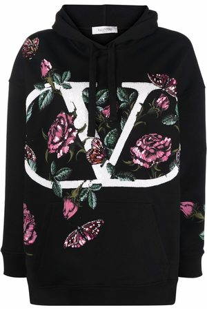 VALENTINO Women Long sleeves - Sequin-embellished long-sleeve hoodie