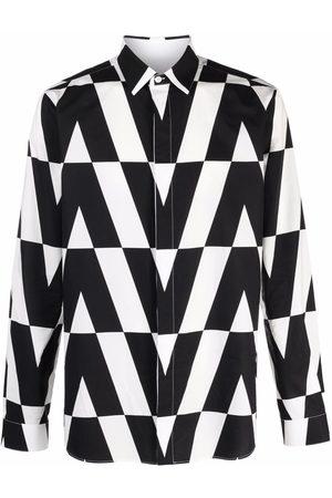 VALENTINO Optical logo-print long-sleeve shirt