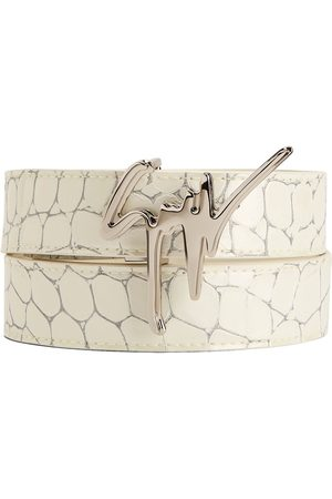 Giuseppe Zanotti Men Belts - Logo-plaque snakeskin-effect belt