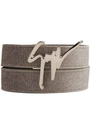 Giuseppe Zanotti Men Belts - Logo-plaque velvet belt - Grey
