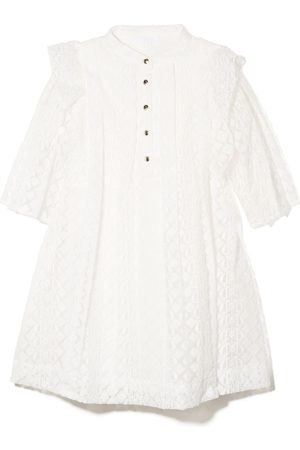 Chloé Embroidered ruffed pleated dress