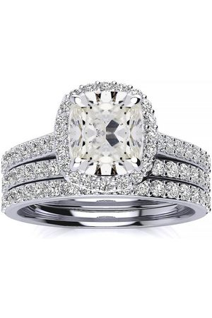 SuperJeweler Women Rings - 6 Carat Princess Cut Halo Diamond Bridal Engagement Ring Set in 14K (16 g) (