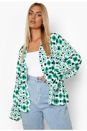 Boohoo Womens Plus Geo Ruffle Sleeve Kimono - - 12