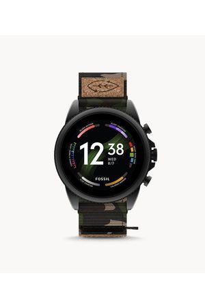 Mens Men Smart Watches - Fossil Men's Gen 6 Smartwatch Green Camo Grosgrain