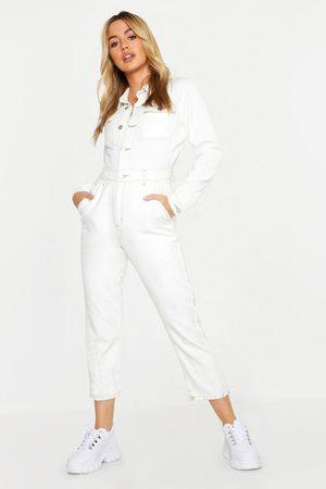 Boohoo Womens Petite Contrast Stitch Boiler Suit - - 2
