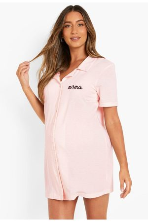 Boohoo Womens Maternity Recycled Mama Embroidered Nightie - - 4