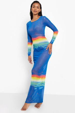 Boohoo Womens Mesh Landscape Print Maxi Beach Dress - - S