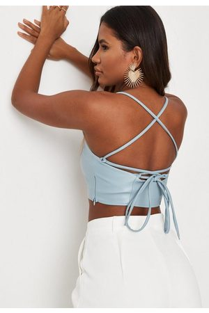 Missguided Faux Leather Cami Strap Bralette