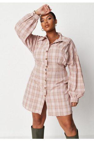 Missguided Plus Size Pink Plaid Cinched Waist Shirt Dress