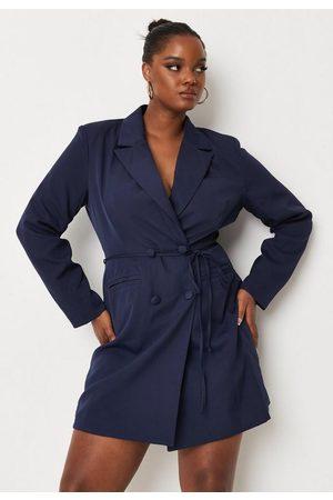 Missguided Plus Size Blue Tie Waist Blazer Dress