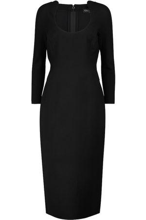 Oscar de la Renta Scoop-neck wool-blend pencil dress