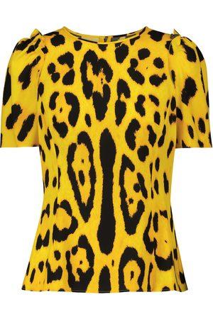 Dolce & Gabbana Leopard-print stretch-silk cady top