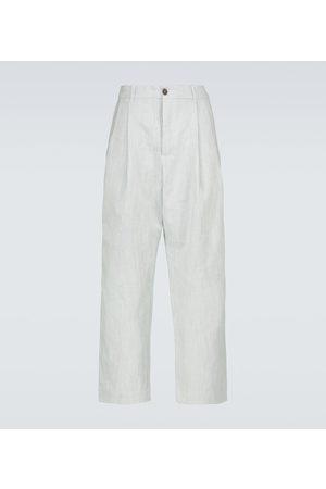 King & Tuckfield Wide-leg cotton and linen-blend pants