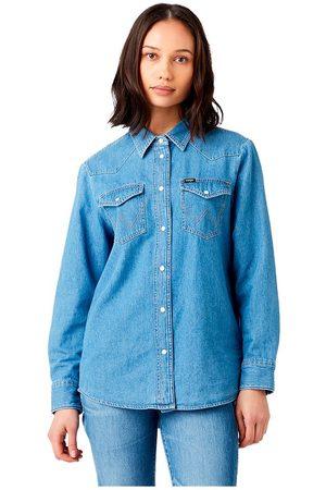 Wrangler Heritage Long Sleeve Denim Shirt L Mid Indigo