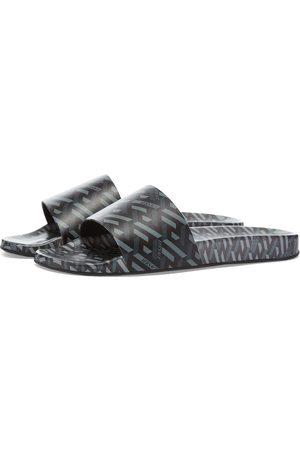 VERSACE Men Sandals - Monogrammed Geometric Logo Pool Slide