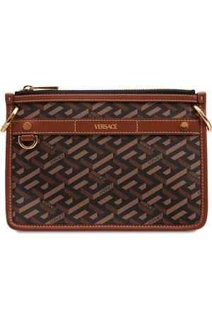 VERSACE Monogram Leather Shoulder Bag