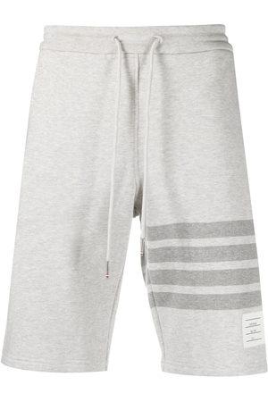 Thom Browne Men Sports Shorts - 4-Bar motif drawstring track shorts - Grey