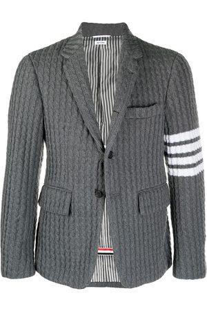 Thom Browne Men Blazers - Four-bar knitted blazer - Grey