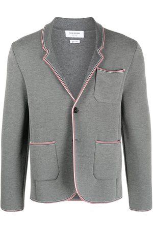 Thom Browne Men Blazers - RWB stripe trim jacket - Grey