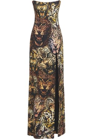 ROBERTO CAVALLI Stretch Cady Printed Strapless Dress