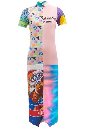 Conner Ives High-neck Half-zip Upcycled-jersey Dress - Womens - Multi