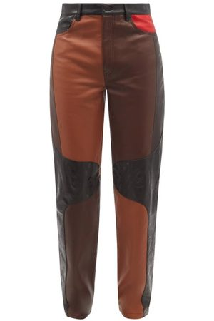 Marine Serre Men Leather Pants - Patchwork Leather Trousers - Mens