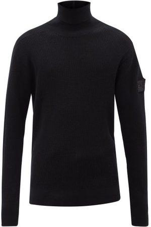 Stone Island Men Turtlenecks - Logo-patch Roll-neck Wool-blend Sweater - Mens