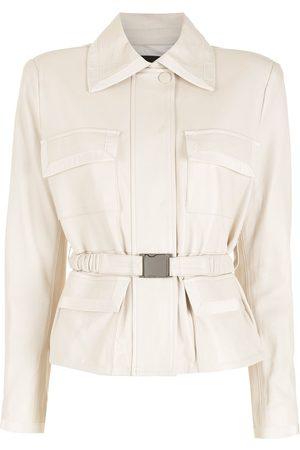 Andrea Bogosian Belted leather jacket - Neutrals