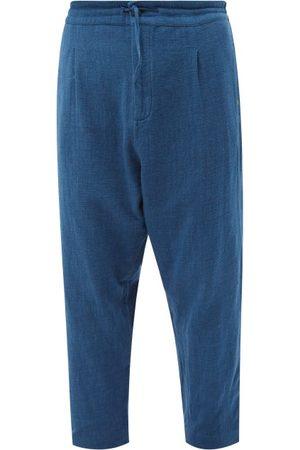 11.11/eleven eleven Wide-leg Organic-cotton Cropped Trousers - Mens - Indigo