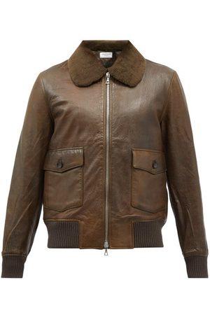OFFICINE GENERALE Gianni Shearling-collar Leather Bomber Jacket - Mens - Dark Khaki
