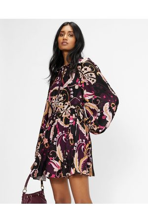 Ted Baker Women Party Dresses - Relaxed Mini Dress With Fixed Wrap Bodice