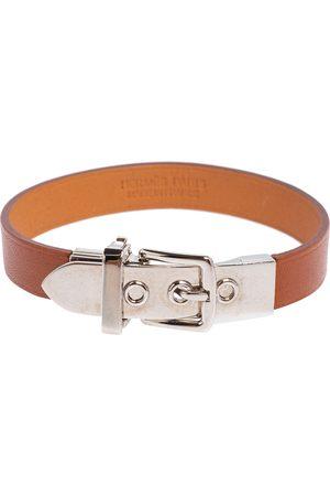 Hermes Hermès Leather Palladium Plated Java 10 Bracelet M